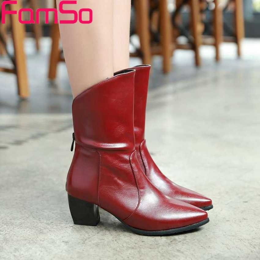 Plus Size34 43 2016 New Sexy font b Women b font Pointed Toe Motorcycle Boots Thick