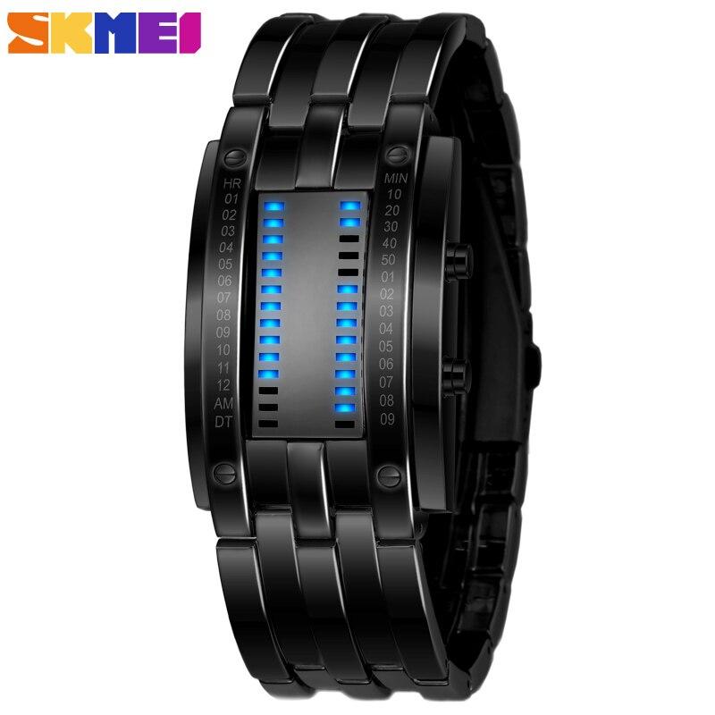 Skmei, популярные мужские модные креативные часы, цифровой светодиодный дисплей, водонепроницаемые ударопрочные наручные часы Lover'S, мужские ч... - 2