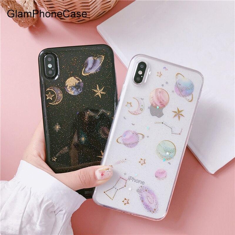 GlamPhoneCase Glitter Starry Sky Mond Telefon Fall Für iphone XS Max XR XS 8 8 plus 7 7 plus 6 /6 s Plus Bling Universum Serie Klar