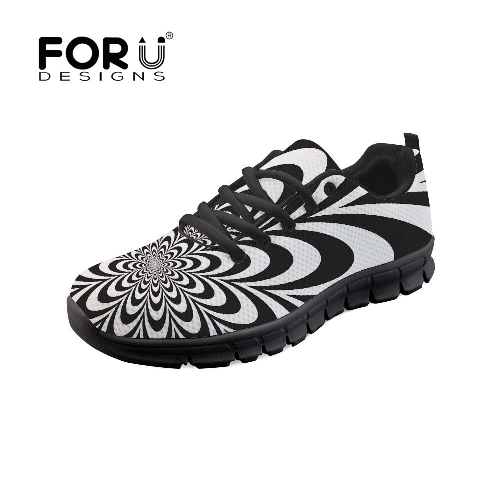 FORUDESIGNS 2018 New Flat Fashion Women Shoes Swirl Pattern White Black  Streetwear Female Ladies Lace Up Casual Zapatos Mujer b2d6fa188258