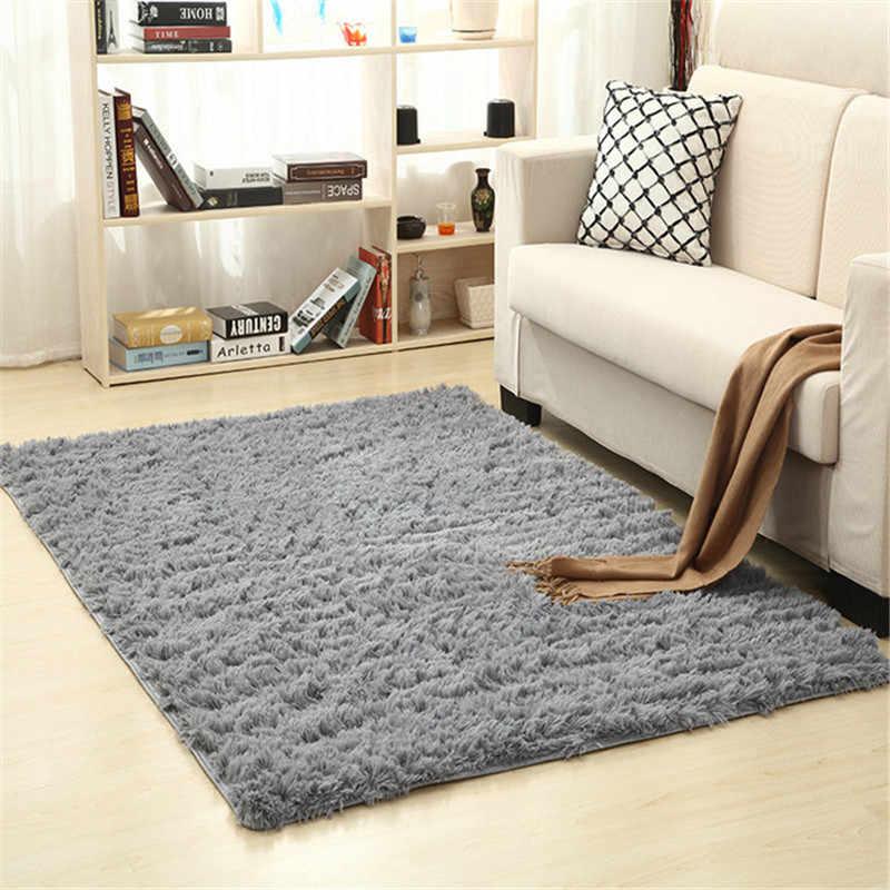 Manta sólida de 16 colores gruesa pelo de seda lavado alfombra antideslizante alfombra para sala de estar suave dormitorio infantil estera de yoga alfombras