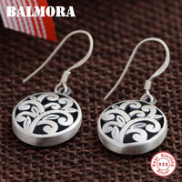 BALMORA 100 Real 925 Sterling Silver Hollow Flower Drop Earrings For Women Lover Party Wedding Gift