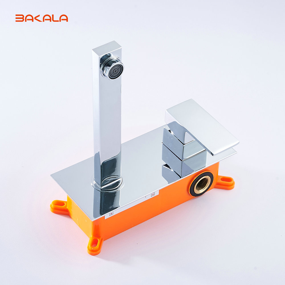 BAKALA  Free shipping Bathroom Basin Sink Faucet Wall Mounted Square Chrome Brass Mixer Tap With Embedded Box LT-320R