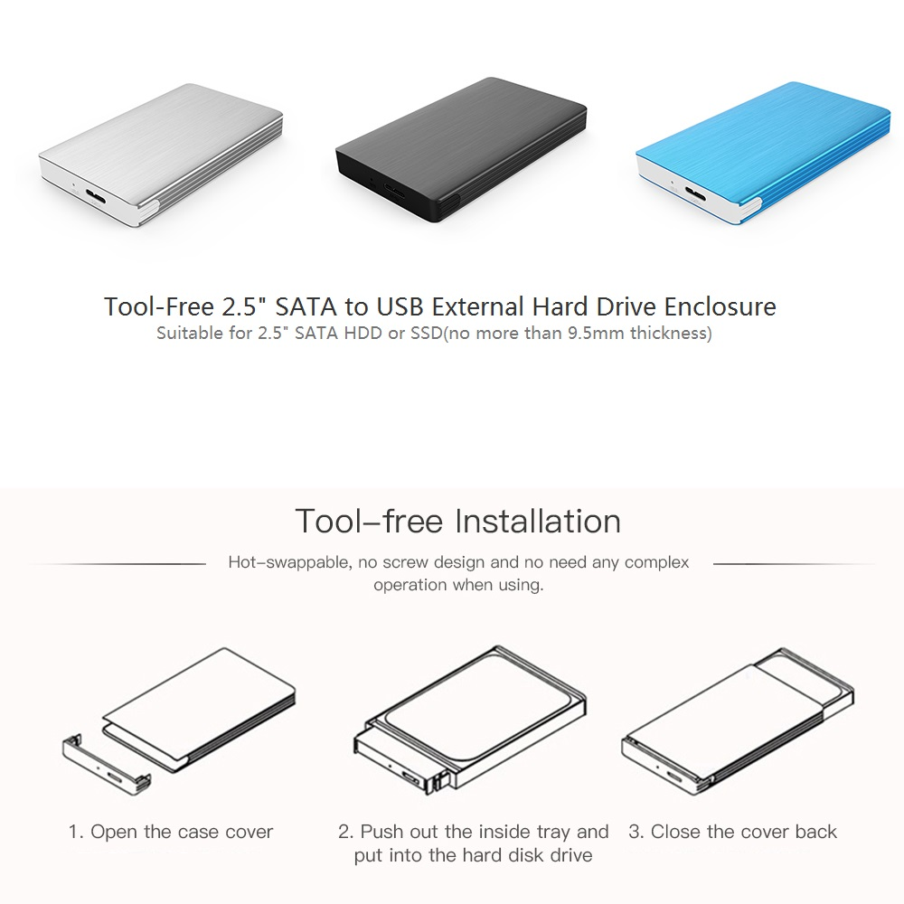 Portable Super Slim 25 Sata To Usb External Hard Drive Enclosure Wiring Diagram Aluminum Disk Case Support 2tb For Hdd Ssd In From Computer