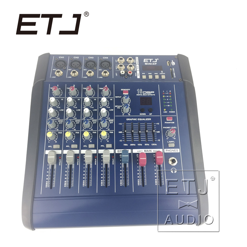 ETJ Brand 16DSP Professional 200W 4 Channel Karaoke DJ Mixer Mixing console Amplifier Amp with USB 48V Phantom Power Supply leory professional 8 channel karaoke audio mixer console digital microphone sound mixing amplifier with usb 48v phantom power