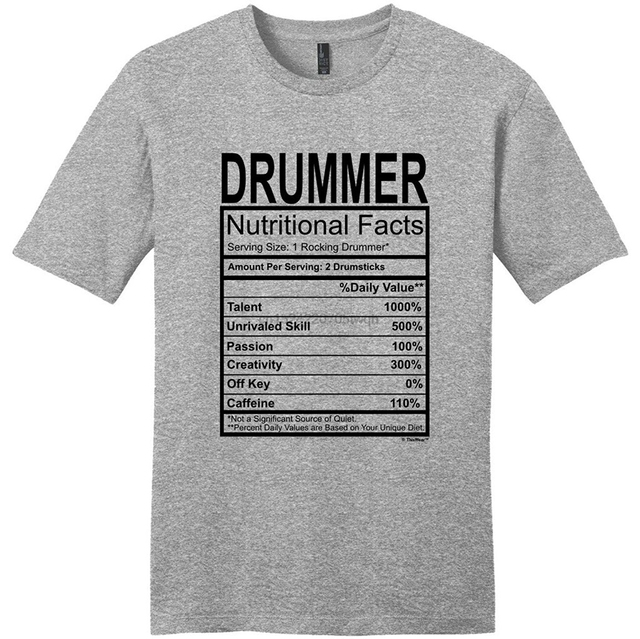 Men T Shirt Drummer Gift Nutritional Facts Gag Gifts Funny Young Mens