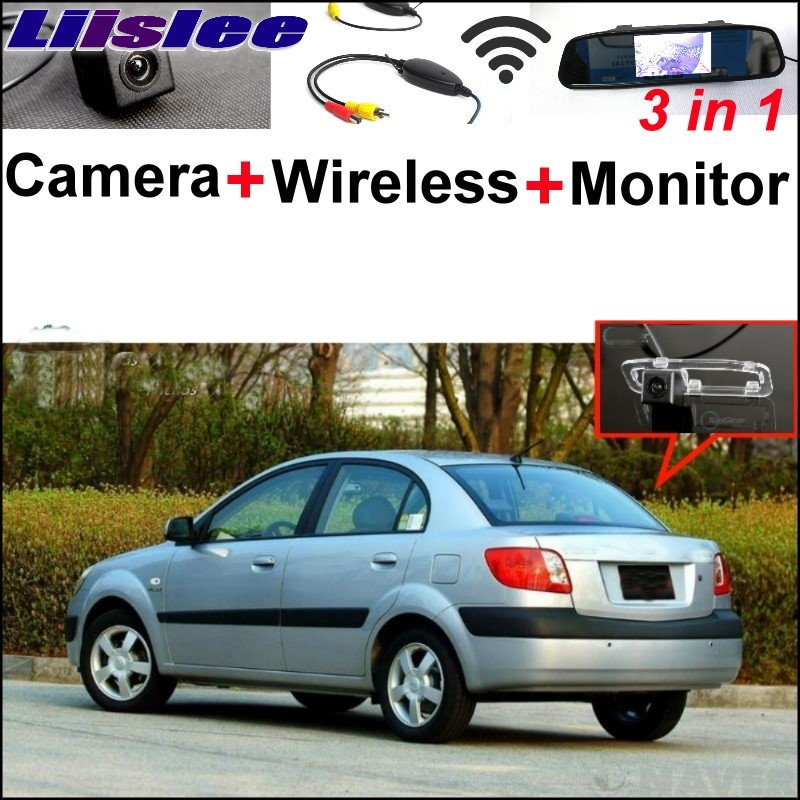 Liislee 3 in1 Special Camera + Wireless Receiver + Mirror Monitor Easy Parking System For KIA New Pride Sephia Sport 2005~2017 wireless pager system 433 92mhz wireless restaurant table buzzer with monitor and watch receiver 3 display 42 call button