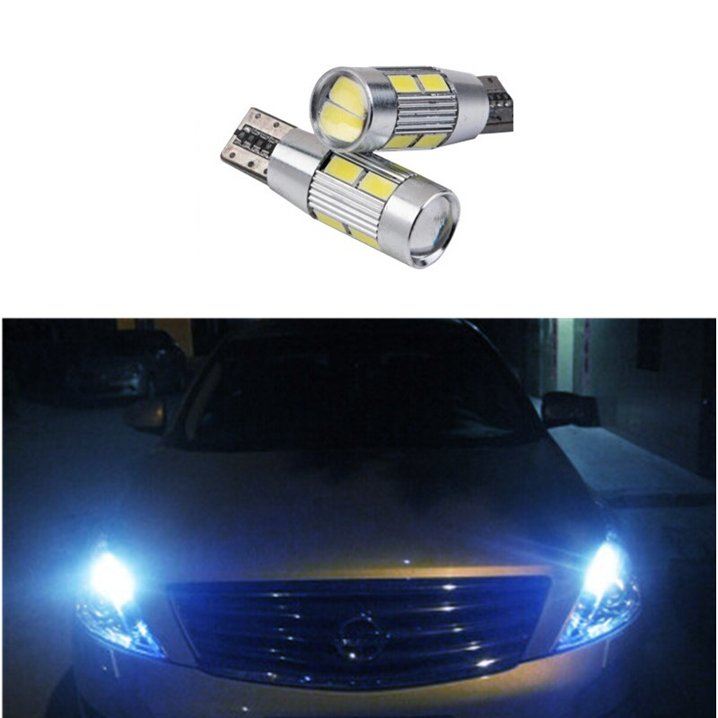 2 X T10 LED W5W Car LED Auto Lamp 12V Light bulbs with Projector Lens for nissan qashqai tiida new teana SYLPHY  free shipping 2pcs lot t10 ba9s car led lamp light 12v parking lamp light bulb for nissan qashqai with xenon terrano3 xtrail