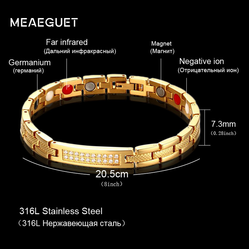 Meaeguet delle Donne Cubic Zirconia Bio Magnetico Bracelet & Bangle Oro-colore Potente Magnete Salute Alert Bracciali Gioielli