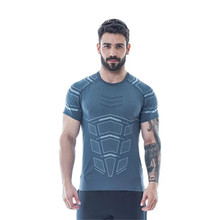 YEMEKE Summer New Fashion Casual T Shirt Fitness Bodybuilding Male Short Sleeves Slim Fit Cotton Shirts Tee Tops Clothes 2019