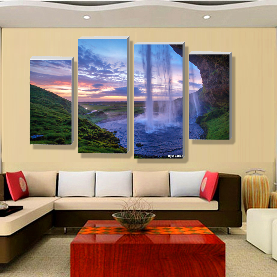 Modern Art Paintings For Living Room Aliexpresscom Buy 4 Pieces Set Unframed Modular Waterfall Wall
