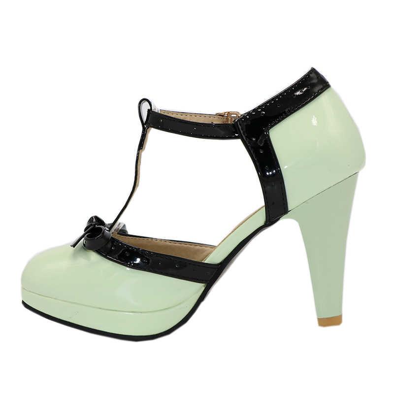 TAOFFEN Size 32-48 Nữ Cao Gót Mũi Tròn Gót Giày nữ Nền Tảng Giày Xăng Đan nơ Đen Cưới đảng Nữ Footwears