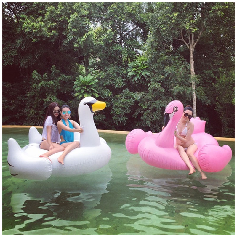 190cm 75 Inch Swimming Pool Inflatable Swan Pool Float Air Mattress Flamingo Floating Island Water Sports Fun Toy giant pool float shells inflatable in water floating row pearl ball scallop aqua loungers floating air mattress donuts swim ring