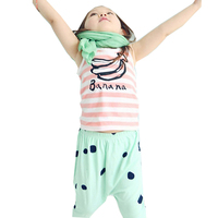 summer hot style Baby Kid Girl Banana Striped Cotton Sleeveless Tops Printed Vest Casual T-shirt 2 color