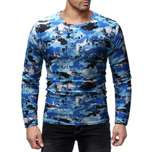 3D-Print Camouflage Tee Top Male Hip Hop Streetwear Long-Sleeved Fitness T-Shirts Men Printed Camouflage Male T-shirts 2019 New