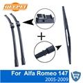 Qeepei dianteiro e traseiro limpador lâmina no braço para alfa romeo 147 2005-2009 alta qualidade de borracha natural brisas 22 ''+ 16''