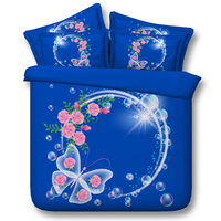 Pink Rose Butterfly Comforter Bedding Sets Twin Full Queen Super Cal King Size Bed Covers Bedspreads 3D Reactive Printed Blue