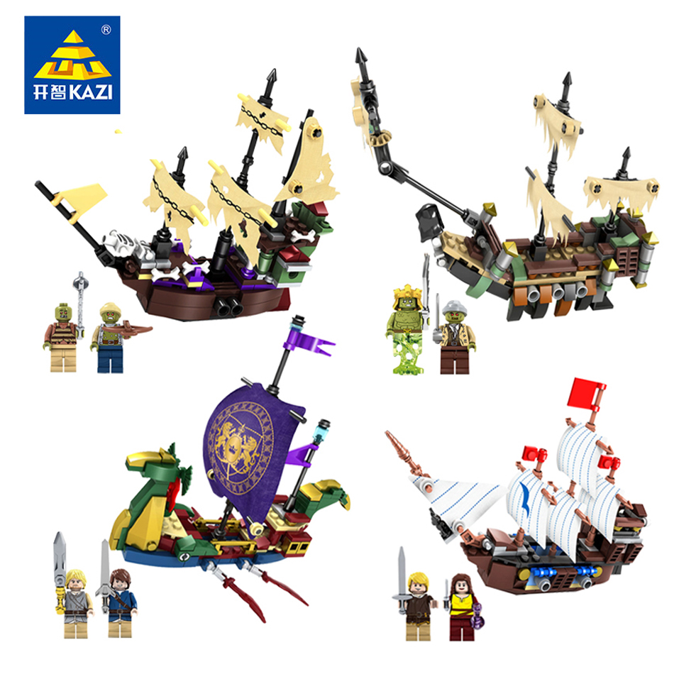 Kazi 4sets/lot Pirates Of The Caribbean Brick Bounty Pirate Ship Building Blocks Compatible Legoe Enlighten Toys For Children kazi 1184pcs pirates of the caribbean black general black pearl ship model building blocks toys compatible with lepin