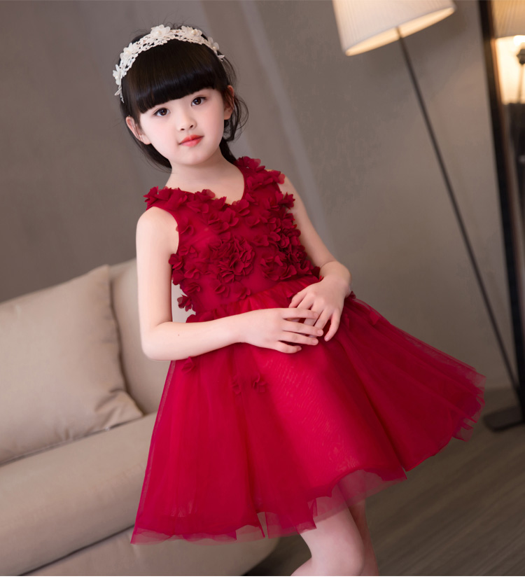 Elegant Red Flower Girls Dresses Appliques Kids Pageant Party First Communion Dresses for Little Girls Prom
