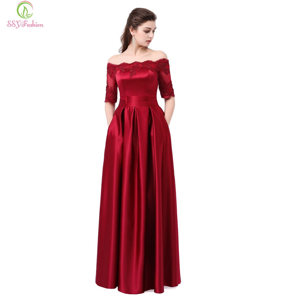 SSYFashion Wine Red Lace Embroidery Luxury Satin Half Sleeved Long Evening Dress Elegant Banquet Party Gown Robe De Soiree