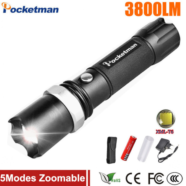 Self Defense FT17 LED flashlights Cree XM-L T6 3800LM Rechargeable Torch Lamps powerful Lantern Tactical Emergency Defensive