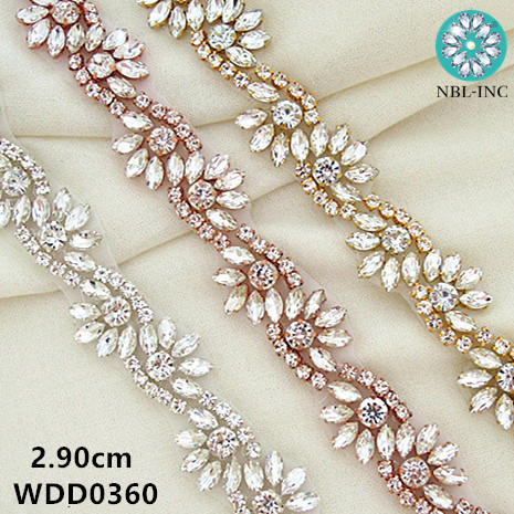 (1 YARD) Silver Rhinestone Applique Trim Gold Crystal Bridal Beaded Trim Sew Iron On For Wedding Dress  WDD0360