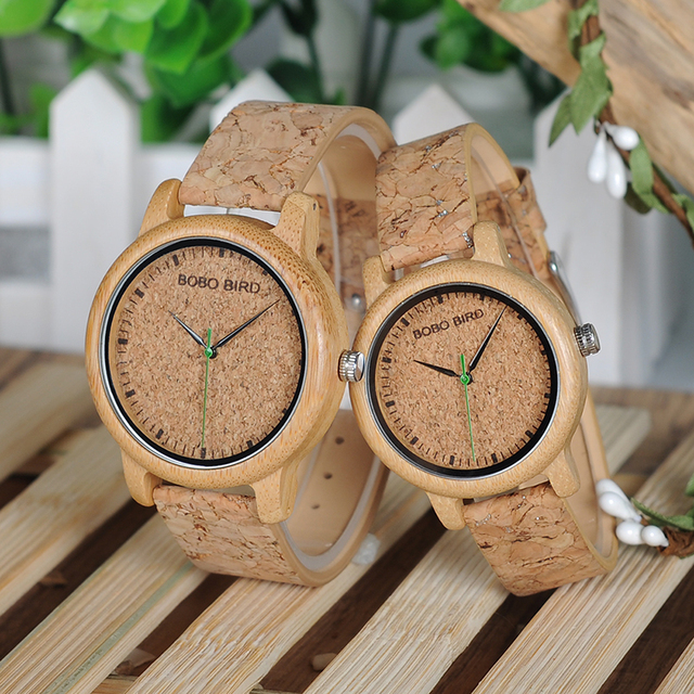 BOBO BIRD Lovers Watches Wooden Timepieces Handmade Cork Strap Bamboo Women Watch Luxury in Box Accept Logo Drop Shipping 3