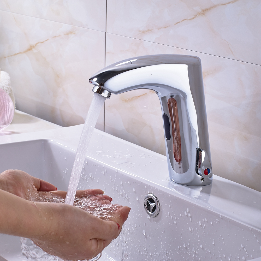 One Handle Hole Chrome Polish Brass Bathroom Sensor Faucet Mixer Tap Hot And Cold Water Tap Deck Mounted wall mounted oil rubbed black bronze bathroom faucet bathtub torneira basin sink faucet hot and cold mixers