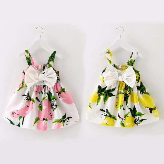 3a12abcd6043 Puseky 2017 Summer Infant Baby Girls Floral Fruit Bow Dress Lemon ...