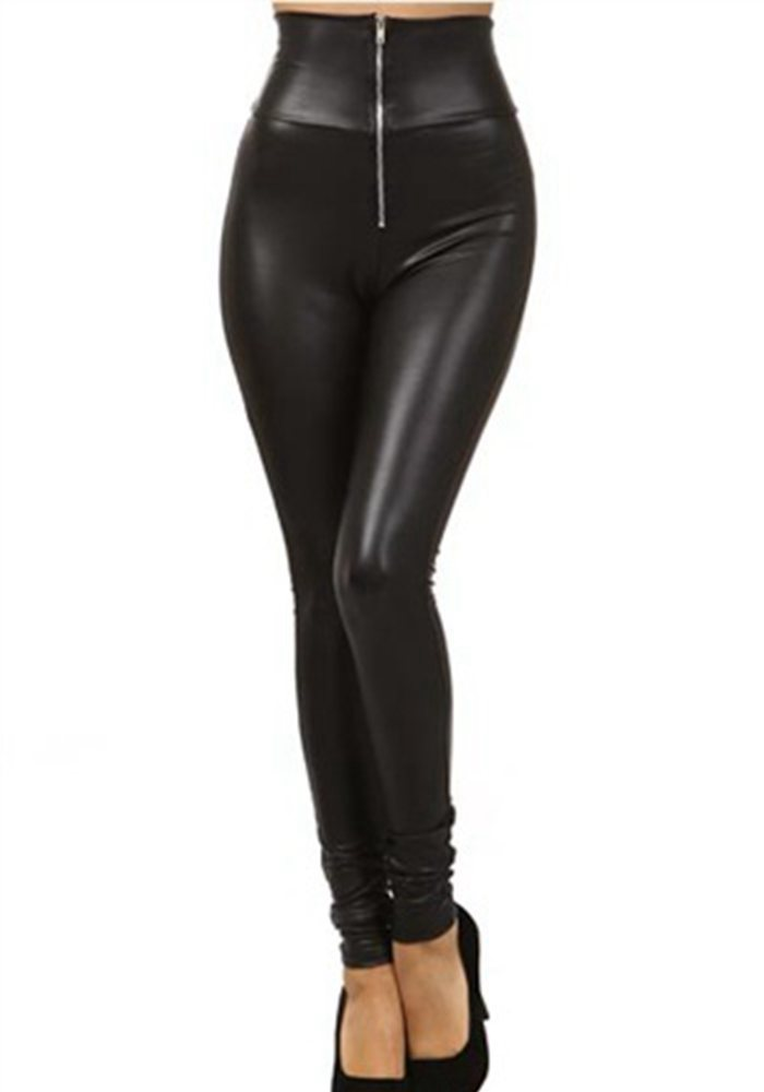 Women High Waist Pencil Leggings Front Zipper Sexy Punk Legging Large Size Fake Leather Fitted Leggings Trousers Clothing