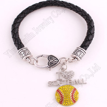 New Arrival Rhodium Plated With Sparkling Crystals I Love Softball Charm Bracelet Rope Chain China