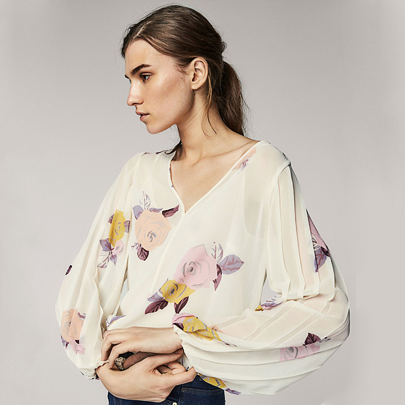 2018 Summer Fashion Women Floral Printing Chiffon Blouse Elegant Ladies Lantern Sleeves Pleated Shirts Loose Casual Tops Clothes