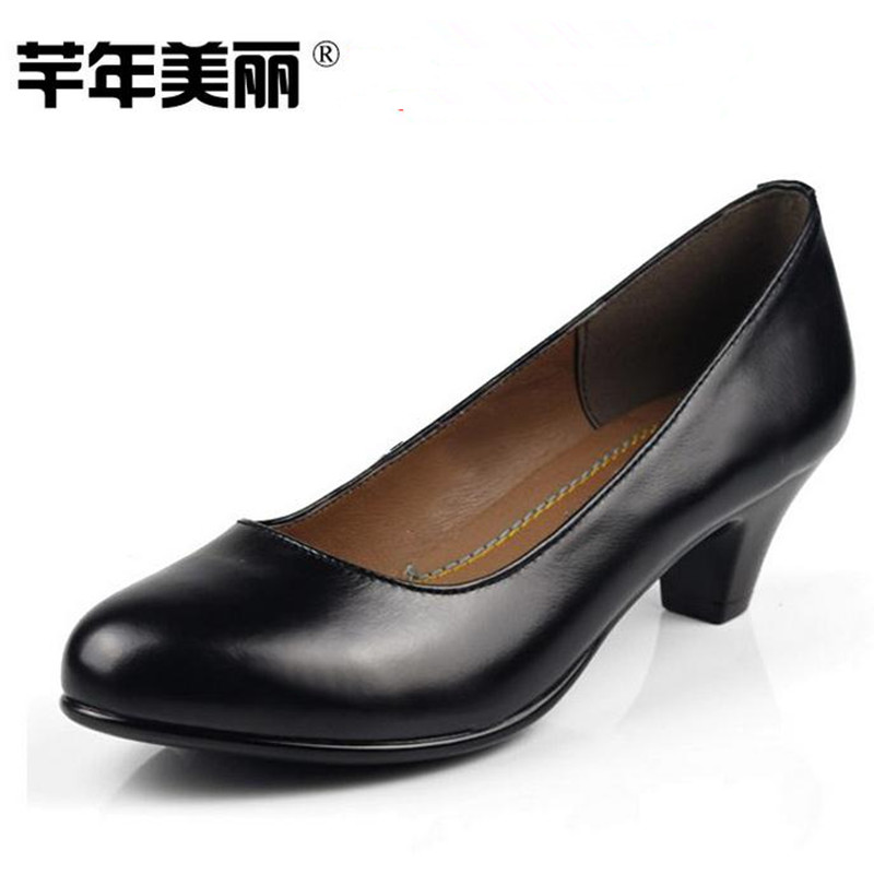 ФОТО high quality Black large size Genuine leather work shoes women 's high heels Professional tooling shoes pumps obuv ayakkab