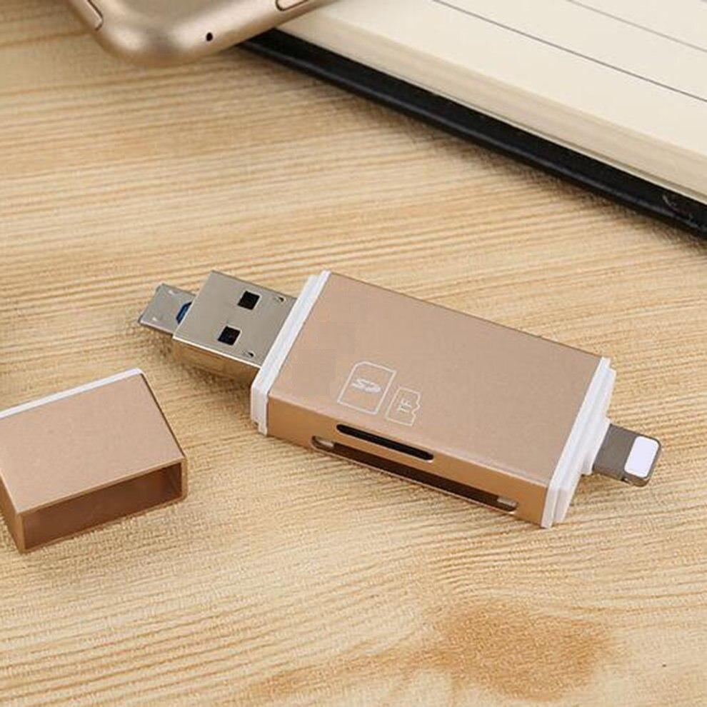 5 pcs Or Portable Mini 3 Dans 1 TF Mémoire Secure Digital Carte OTG Lecteur de Carte Carte D'extension Pour IOS pour Android Ordinateur
