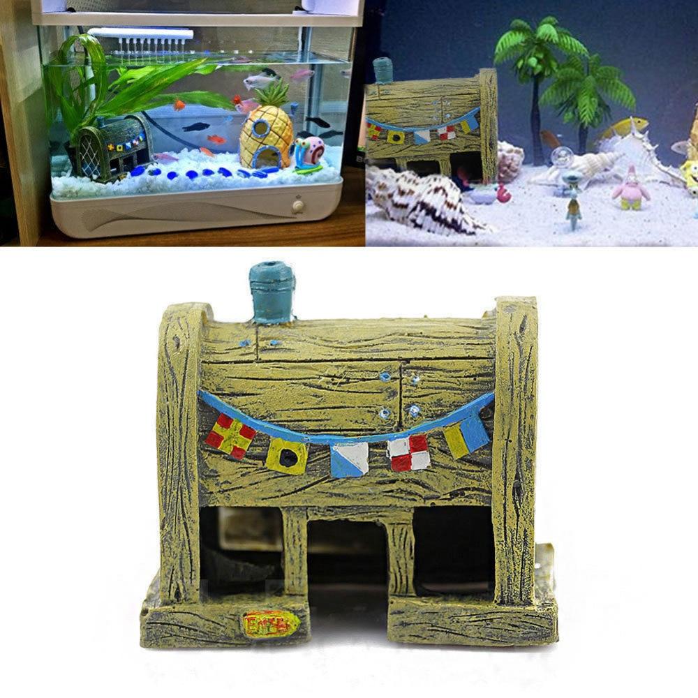 Fish tank toys - Mini Resin House Aquatic Animals Shrimp Cave Fish Tank Micro Landscape Aquarium Ornament Decorations Diy Miniature