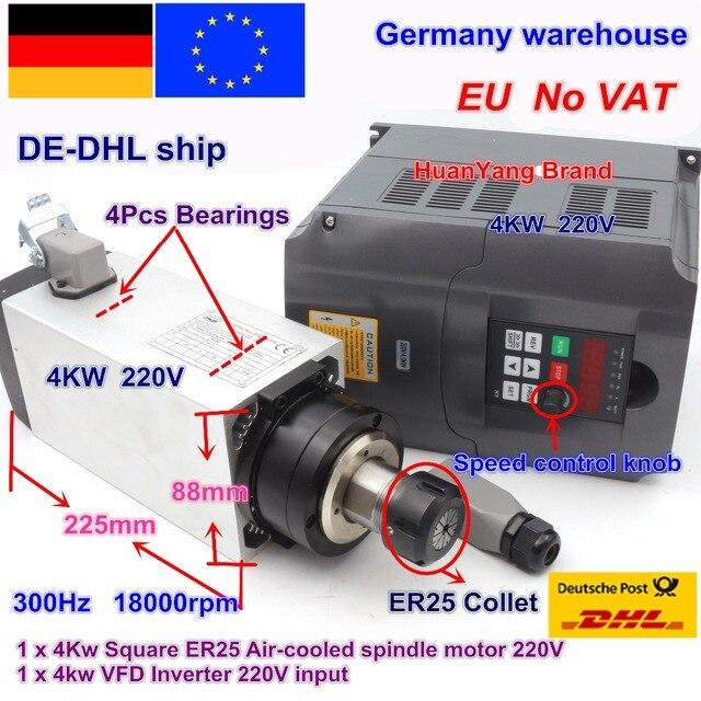 【مجانية فات】 مربع 4kw ER25 مبرد هواء لمحرك المغزل 4 محامل و 4kw VFD العاكس 220 فولت ل نك راوتر آلة نقش بالحفر
