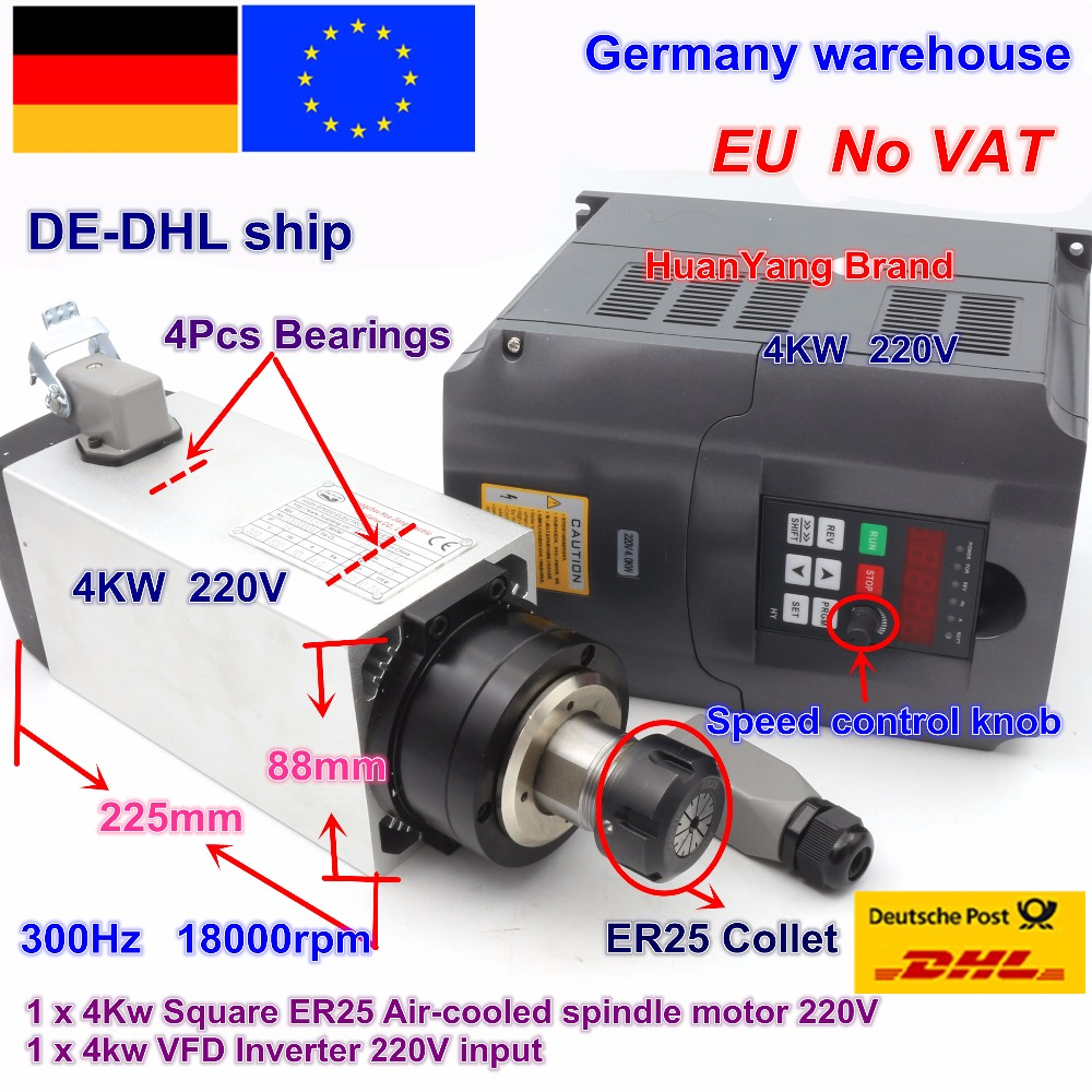 DE ship Square 4kw ER25 Air cooled Spindle Motor 4 bearings & 4kw VFD Inverter 220V for CNC Router Engraving Milling Machine цены онлайн