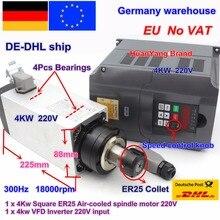【Free Vat】 Vuông 4Kw ER25 Không Khí Làm Mát Động Cơ Trục Chính 4 Vòng Bi & 4Kw VFD Inverter 220V Cho CNC Router khắc Máy