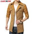 Homens jaqueta casual casacos longo trench coat homens Soletrar LONMMY roupa masculina casaco de couro dos homens Casual Novo 2016 Outono Inverno trincheira