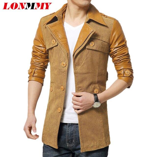 LONMMY Hombres casual casacos chaqueta larga trench coat hombres Hechizo abrigo de cuero para hombre de Los Hombres ropa Casual Nuevo 2016 Otoño Invierno zanja
