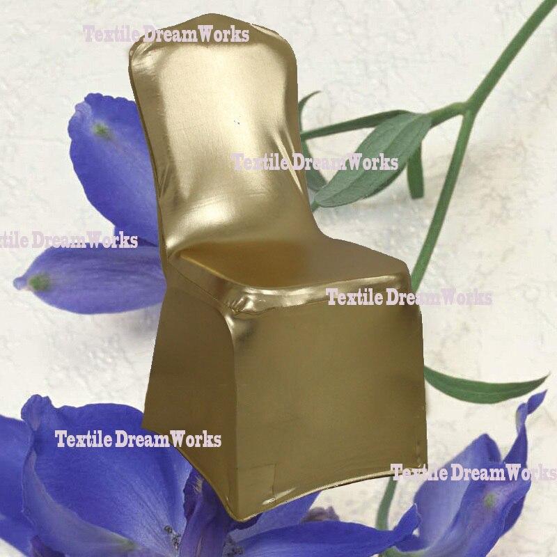 Горячая светло-золотой металлический блестящий двухсторонний спандекс чехол для стула/лайкра крышка стула Арка спереди для свадебного украшения