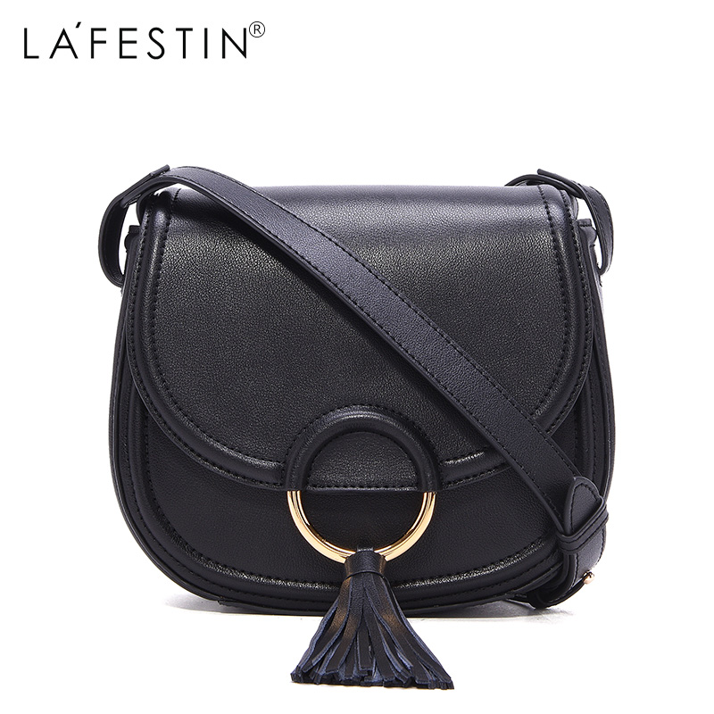 LAFESTIN 2017 Women Shoulder Bag Genuine Leather Saddle Fashion Women Tassel Crossbody Bag Designer  Luxury Brands bolsa lafestin luxury shoulder women handbag genuine leather bag 2017 fashion designer totes bags brands women bag bolsa female