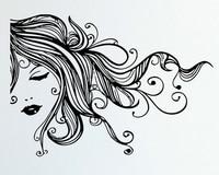 Hair Salon Vinyl Wall Decal Beauty Salon Sexy Girl Long Hair Hairdressing Mural Art Wall Sticker Barbershop Home Decoration