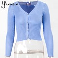 Yanueun 2016 New women  Korean autumn sweater cardigan Women's Slim waist round neck short paragraph coat free shipping