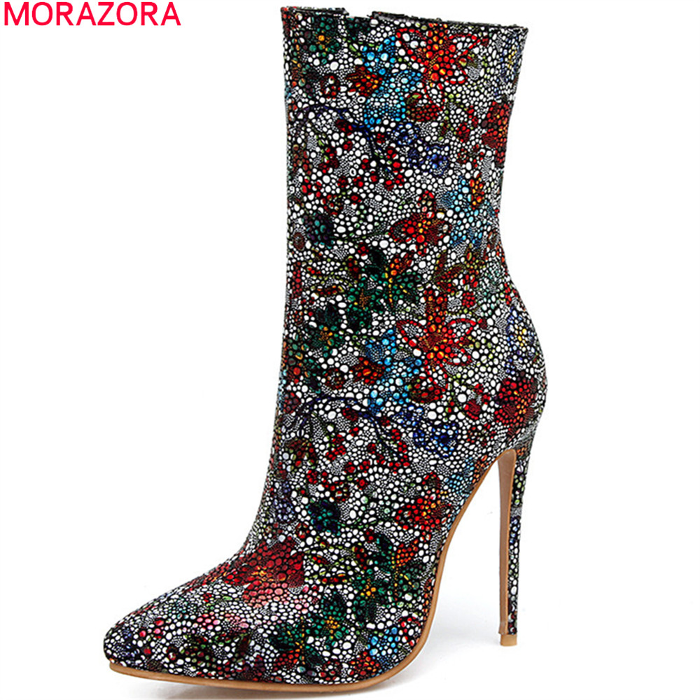 MORAZORA big size 33-44 fashion women boots pointed toe zipper ladies boots sexy thin heel super high ankle boots blingMORAZORA big size 33-44 fashion women boots pointed toe zipper ladies boots sexy thin heel super high ankle boots bling