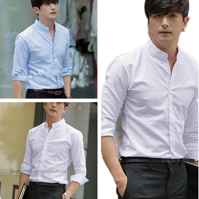 new arrive Autumn spring stand collar font b men b font font b shirt b font