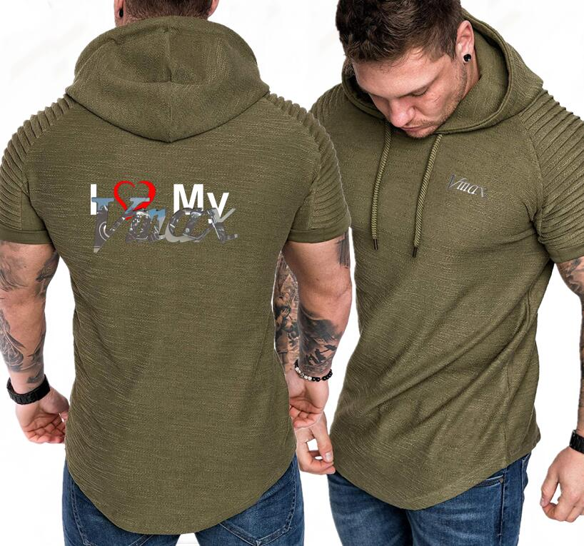 Reasonable Men Solid Hooded Sweatshirt Short Sleeve Metrosexual I Love Yamaha Vmax Print Men Hoodies Fashion Cotton Casual Pullover Summer Agreeable Sweetness