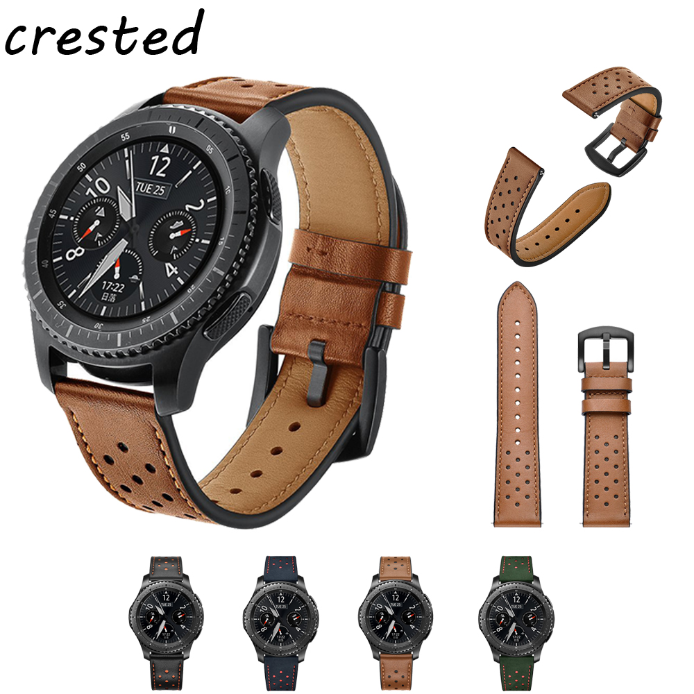 22mm Genuine Leather watch Band for Samsung Gear S3 Frontier/Classic strap for Xiaomi Huami Amazfit Pace/Stratos 2/1 bracelet