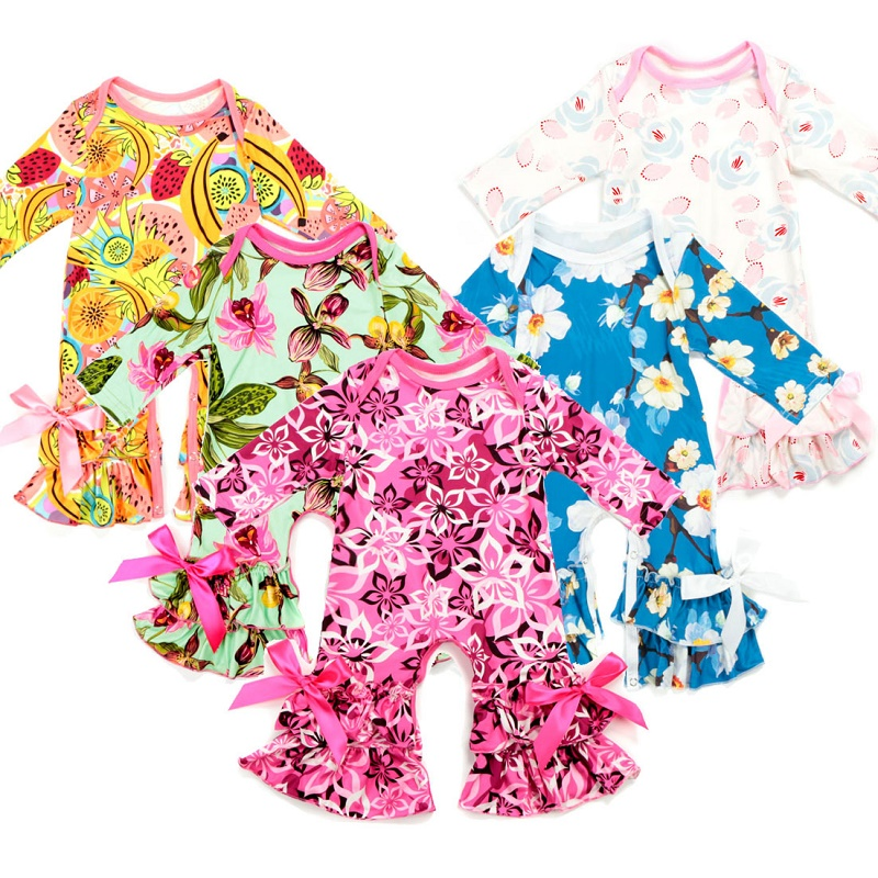 Baby Girls clothing Spring autumn Ruffled leg Flower Prints Boutique Newborn   Rompers   pajama gowns Infant Jumpsuit Out clothes