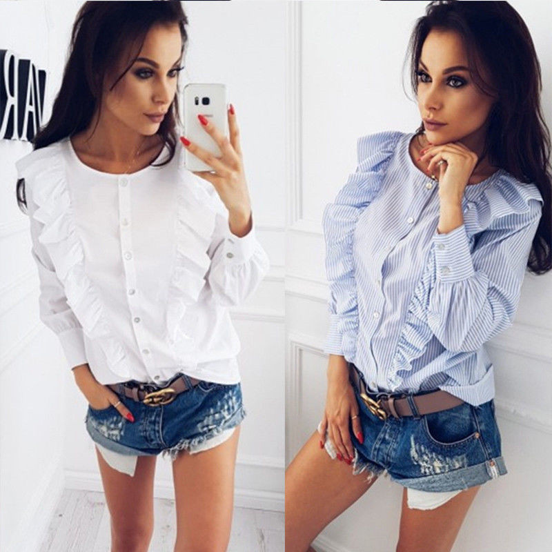 Summer Loose Long Sleeve Blouse One Pieces Trendy Women Blouse Striped Ladies Casual Round Neck Button Ruffle Shirts